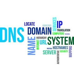 word cloud dns vector image vector image