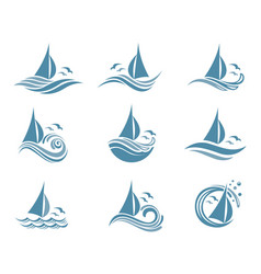 yachts and waves icons vector image