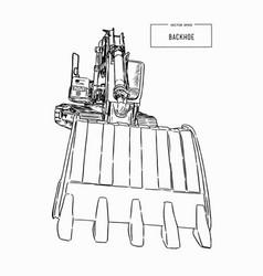 Yellow backhoe loader sketch vector