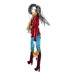 Young fashion woman in boho style for t-shirts vector