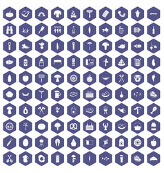 100 barbecue icons hexagon purple vector