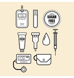 Diabetes Set of linear icons objects Glucometer vector image