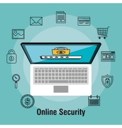 Laptop shopping online security protection data vector