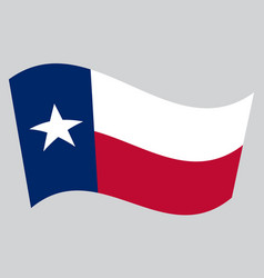 Flag of texas waving on gray background vector