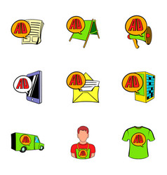 Ali express shop icons set cartoon style vector