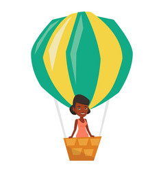 woman flying in hot air balloon vector image