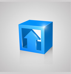 box with arrow blue vector image