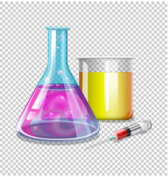 Beakers and syringe with liquid inside vector