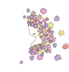 flowers girl vector image