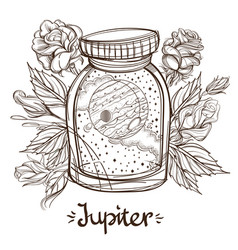 Jupiter in a glass jar the planet of the solar vector
