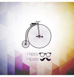 Hipster mustag retro bicycle triangle background vector