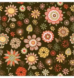 Seamless pattern of flowers on a dark background vector