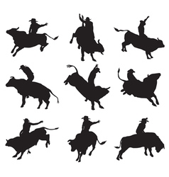 Rodeo on bulls silhouette vector