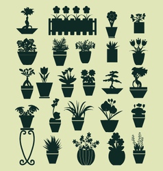 Icons set of plant silhouette collection vector