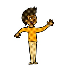 Comic cartoon man waving vector