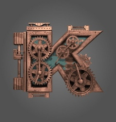 K rusted letter with gears vector