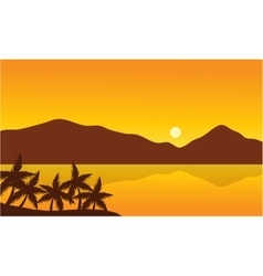 Landscape of beach with mountain vector