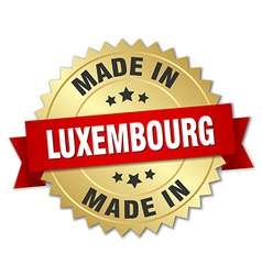 Made in luxembourg gold badge with red ribbon vector