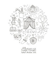 Hand drawn sketch circus icons vector