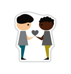 paper sticker on white background people heart vector image