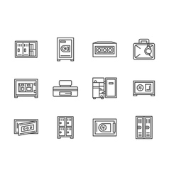 Metal cabinets and safes black line icons vector