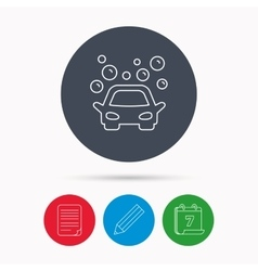 Car wash icon cleaning station with bubbles vector
