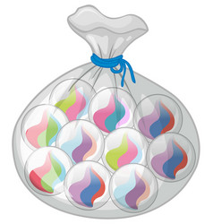 Bag of colorful marbles vector