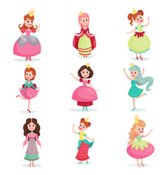 beautiful cartoon princess girls in a ball dress vector image vector image