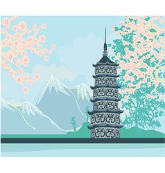 Beautiful landscape in japan vector