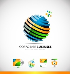 Business corporate 3d sphere logo icon design vector