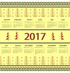 Calendar 2017 year vintage decorative elements vector