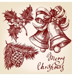 Christmas decorations set hand drawn vector