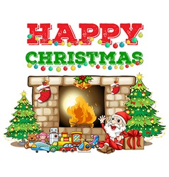 Christmas theme with santa at fireplace vector