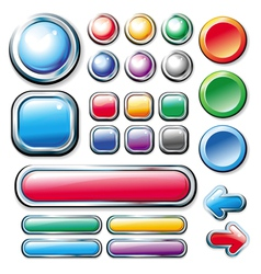 collection of colored glossy web elements vector image vector image