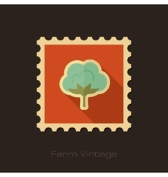 Cotton retro flat stamp with long shadow vector
