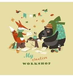 Cute fox and bear at creative workshop vector image vector image