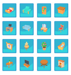 Different furniture icon blue app vector