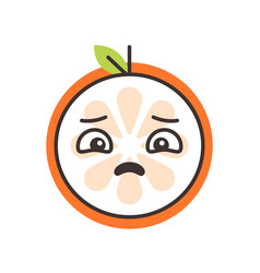 Emoji - sad orange feeling like crying isolated vector