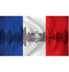 flag of france with paris skyline vector image