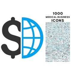 Global Business Icon with 1000 Medical Business vector image vector image