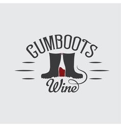 Gumboots wine retro design negative space concept vector