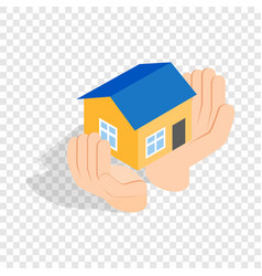 Hands holding a house isometric icon vector