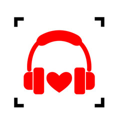 headphones with heart red icon inside vector image vector image
