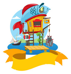 House fisherman cartoon of a wooden hut on stilts vector