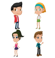 Kids cute cartoon character set vector