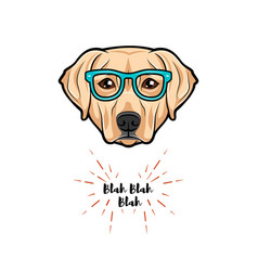 Labrador dog wearing glasses on white background vector
