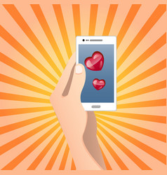 mobile heart symbol love or health concept vector image vector image