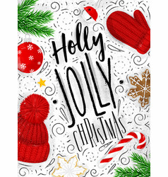 poster holly jolly christmas vector image vector image