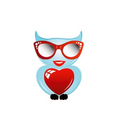 Pretty owl with a red heart and sunglasses vector