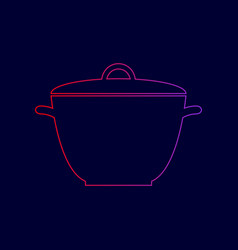 Saucepan simple sign line icon with vector